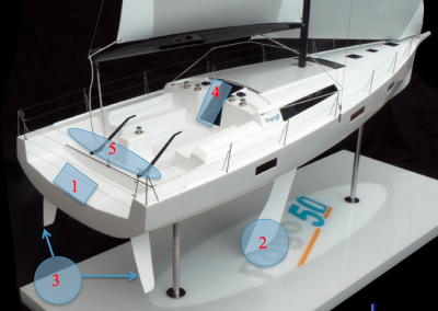 pogo50 Safety Features<br/>Life raft under cockpit floor for immediate access in case of emergency(1), Low center of gravity (2), Twin rudders for stability and control (3),Sliding watertight door (4), Open aft section for immediate drainage (5).