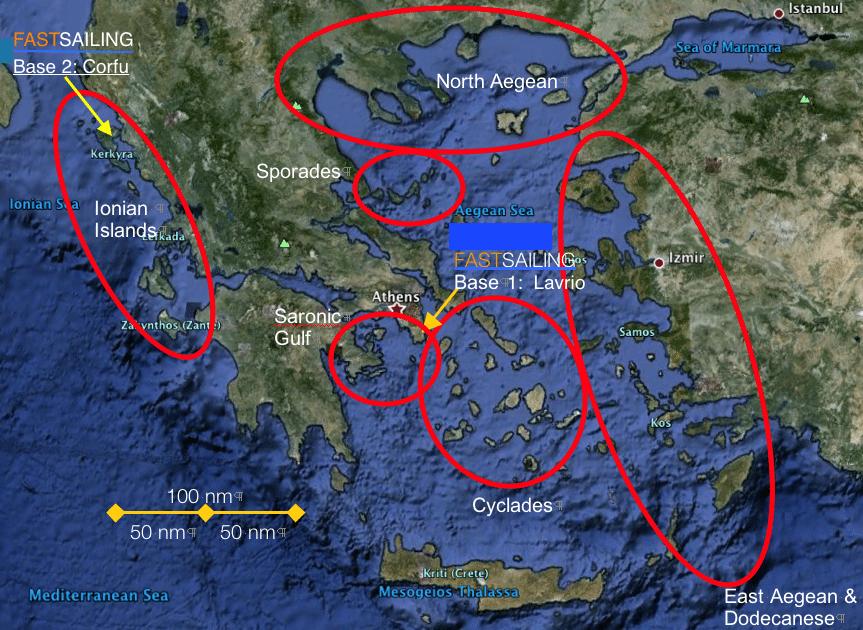 sailing areas greece