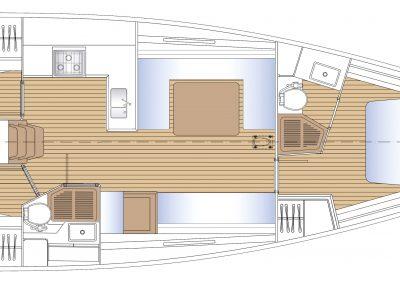 Solaris 44 Interior layout