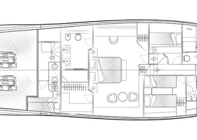 Solaris Power 68 Flybridge Lower Deck Layout