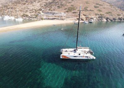Fastsailing's Outremer4x LYNX Kolona Bay Kythnos